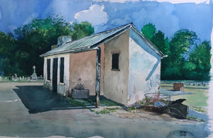 Original Kevin Williams watercolour painting of the water shed in Ty Rhiw Cemetery, Taff's Well