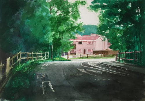 An original watercolour painting of the 'new' houses which were built around 1968 in Ty Rhiw , Taff's Well