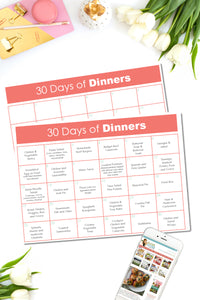 30 Days of Dinner Ideas {TWO PAGES}