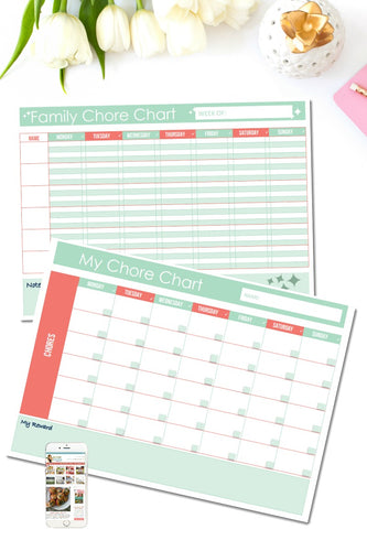 Family Chore Chart (TWO OPTIONS)
