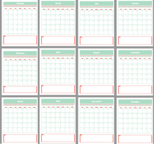 Load image into Gallery viewer, {12 PAGES} REUSABLE MONTH TO PAGE CALENDAR