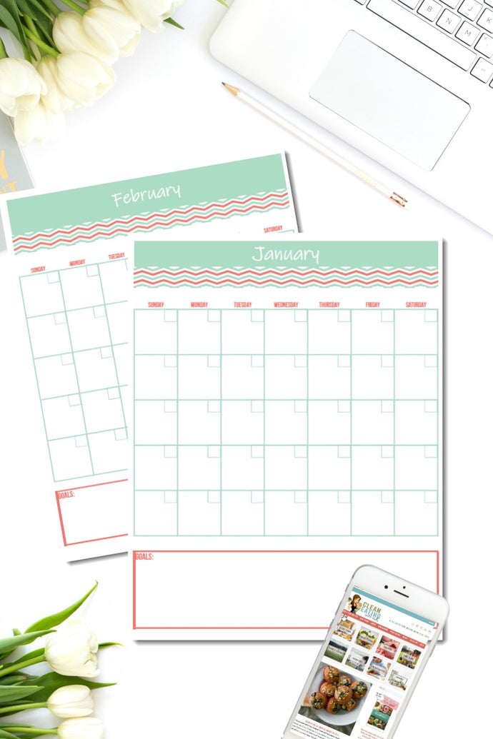 {12 PAGES} REUSABLE MONTH TO PAGE CALENDAR