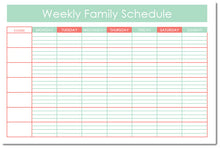 Load image into Gallery viewer, Weekly Family Schedule