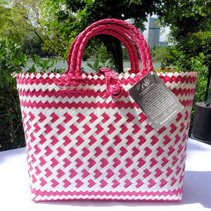 Magenta Pink & White Little Hearts Penan Handwoven Tote Bag