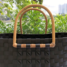 Load image into Gallery viewer, Black Rattan Handle Penan Tote Bag