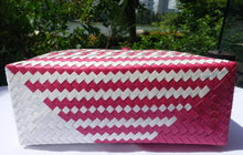 Load image into Gallery viewer, Magenta Pink & White Little Hearts Penan Handwoven Tote Bag