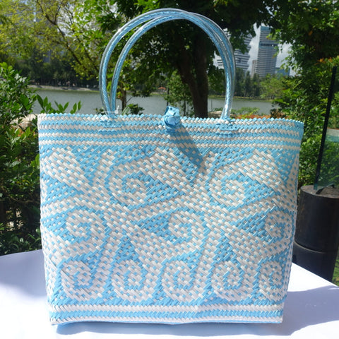 Teal Blue & White Fine Weave Handwoven Penan Tote Bag