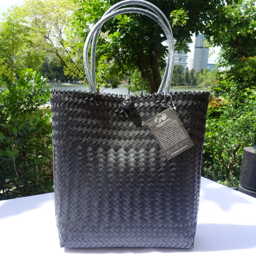 Black Document Handwoven Penan Tote Bag