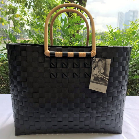 Black Rattan Handle Penan Tote Bag