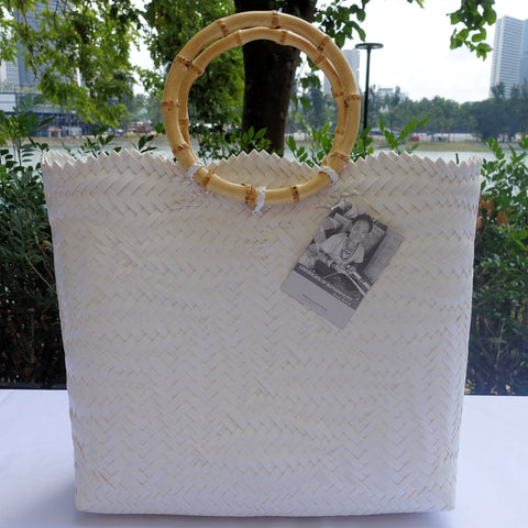 White Bamboo Handle Penan Tote Bag