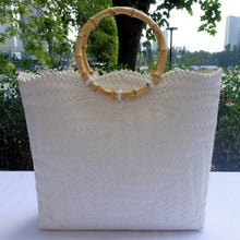 Load image into Gallery viewer, White Bamboo Handle Penan Tote Bag