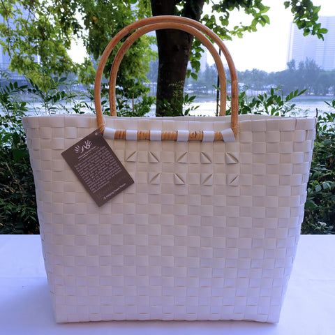 White Thick Weave Rattan Handle Penan Tote Bag