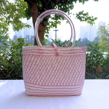 Load image into Gallery viewer, Pink & White Fine Weave Penan Tote Bag