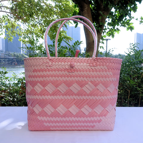 Pink Two Tones Penan Handwoven Tote Bag