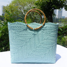 Load image into Gallery viewer, Pastel Teal Bamboo Handle Penan Tote Bag