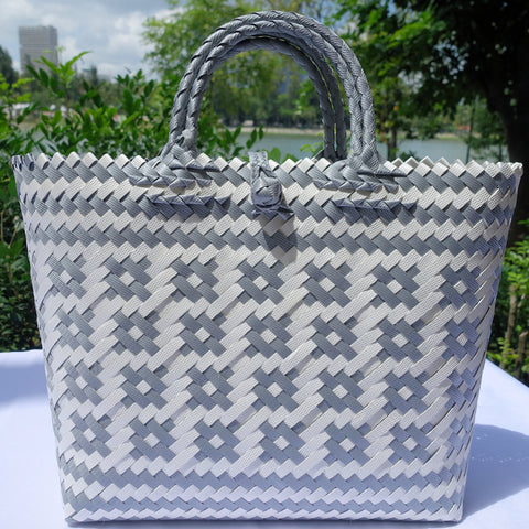 Silver and White Double Handle Penan Tote Bag