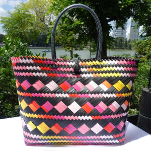 Black & Pink Multi-Colour Penan Tote Bag