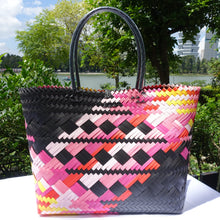 Load image into Gallery viewer, Black & Pink Multi-Colour Penan Tote Bag