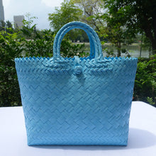 Load image into Gallery viewer, Sky Blue Double Handle Penan Tote Bag