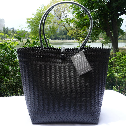 Black Handwoven Penan Basket Bag