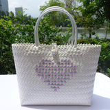 'Love Penan' White tote bag with Purple & Grey Heart