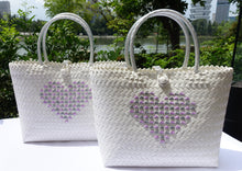 Load image into Gallery viewer, 'Love Penan' White tote bag with Purple & Grey Heart