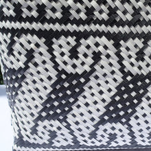 Load image into Gallery viewer, Black & White Spiral Fine Weave Penan Tote Bag