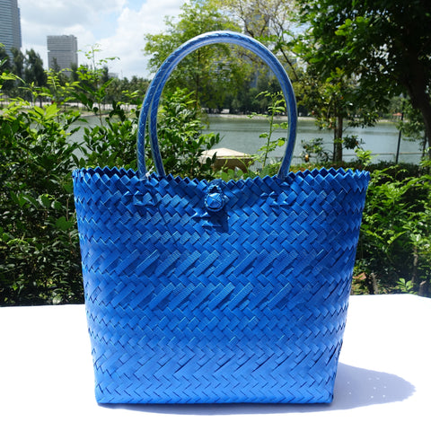 Metallic Blue Handwoven Penan Tote Bag