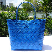 Load image into Gallery viewer, Metallic Blue Handwoven Penan Tote Bag