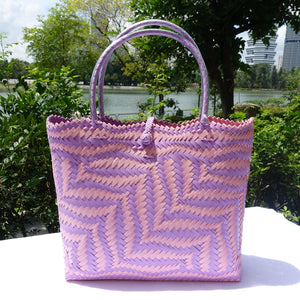 Pink & Purple Fern Weave Penan Tote Bag