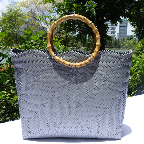 Silver Bamboo Handle Penan Tote Bag