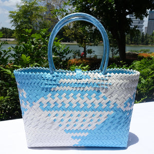 Sky Blue & White Penan Handwoven Tote Bag