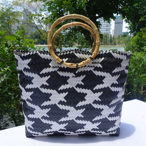 Black & White Juhit Bamboo Handle Penan Tote Bag
