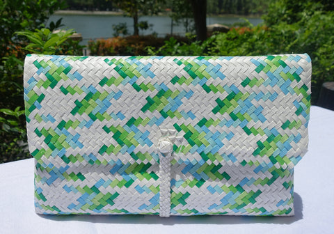 Green & Blue Tone Penan Clutch Bag