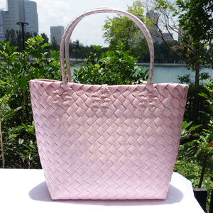 Soft Pink Thick Weave Penan Tote Bag