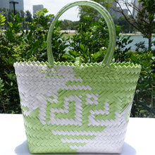 Load image into Gallery viewer, Lime Green & White Hearts Penan Tote Bag