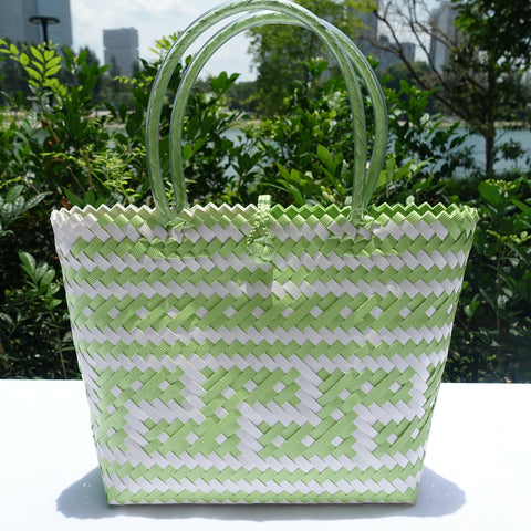 Lime Green & White Zigzag Penan Tote Bag