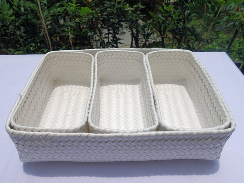 4 Piece White Penan Tray and Basket Set