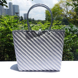 Silver and White Glamour Penan Tote Bag