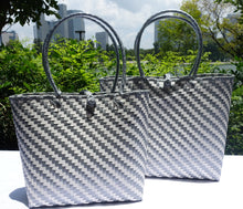 Load image into Gallery viewer, Silver and White Glamour Penan Tote Bag