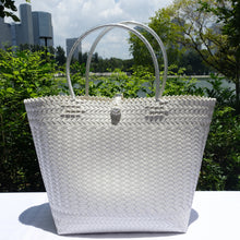 Load image into Gallery viewer, White Handwoven Penan Basket Bag