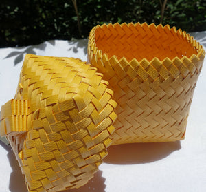 Yellow Mini Penan Basket with Lid