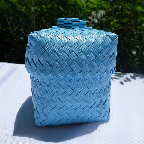 Sky Blue Mini Penan Basket with Lid