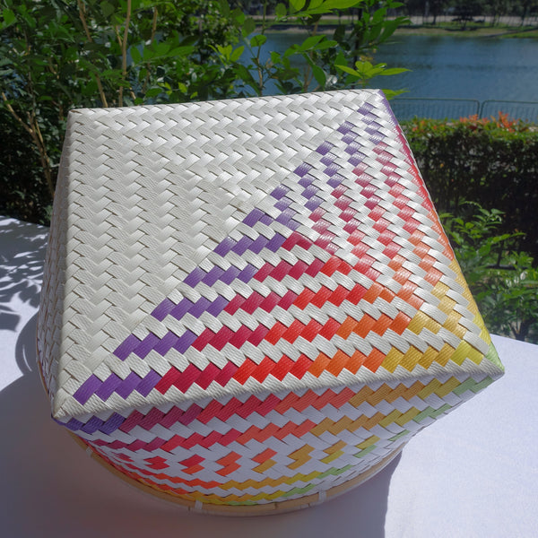 White Rainbow Penan Rattan Trim Basket