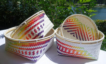 Load image into Gallery viewer, White Rainbow Penan Rattan Trim Basket