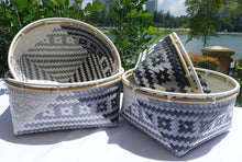 Load image into Gallery viewer, Black, White & Silver Penan Rattan Trim Basket