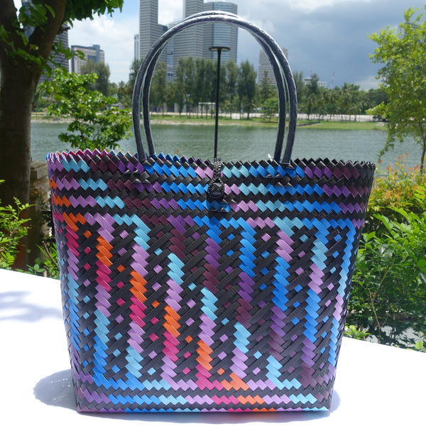 Midnight Rainbow Handwoven Penan Tote Bag