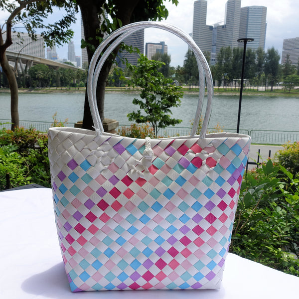 White Rainbow Thick Weave Penan Tote Bag