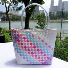 Load image into Gallery viewer, White Rainbow Thick Weave Penan Tote Bag