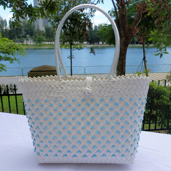Light Blue & White Candy Tote Bag